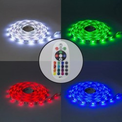 KIT Tira LED RGB Rollo de 5m Directa a 220v con Controlador y Mando 9