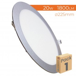 605 - LED PANEL RECESSED ROUND SILVER 20W - PACK1
